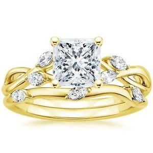 1.65 Ct Nature Inspired Princess Cut Engagement Wedding Ring Set In Yellow Gold