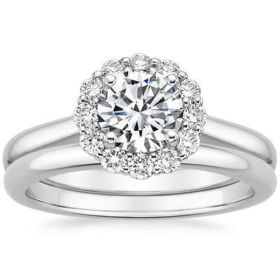 1.15 Tcw Round Cut Solitaire Halo Lotus Flower Bridal Ring Sets 14K White Gold