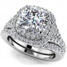 2.10 Tcw Cushion Cut CZ Solitaire Double Halo Bridal Ring Sets 10k White Gold