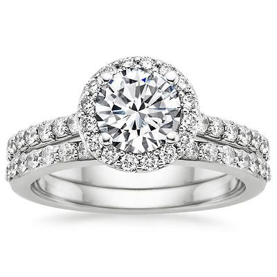 1.40 Tcw Shared Prong Halo Round CZ Bridal Wedding Ring Set 10K Solid White Gold