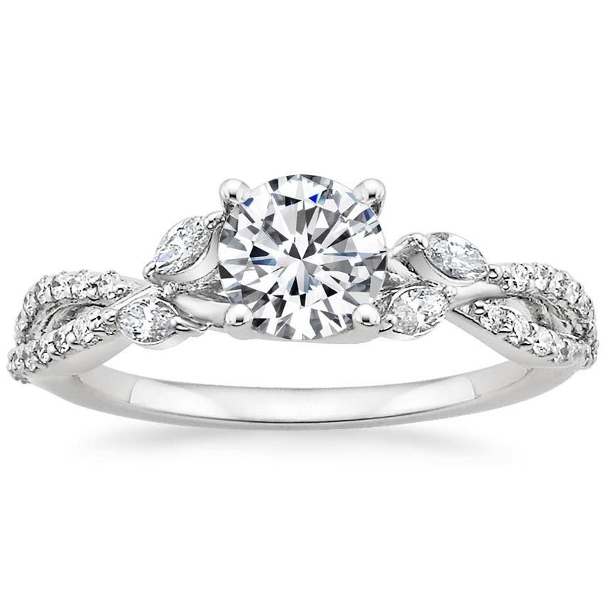 1.70 Cts Solitaire Nature Inspired Semi Mount Engagement Ring 10K white gold