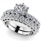 2.10 Ct D Shank Round Cut Wedding Engagement Ring Sets Jewelry 10k White Gold