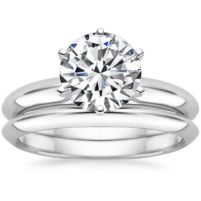 2.00 Ct Round solitaire Six Prong Knife Edge wedding ring set In 14K White Gold