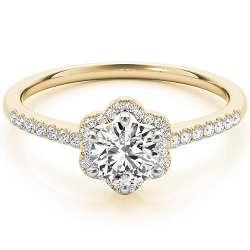 0.65 Ct Two Tone Petite Floral Halo Cathedral Engagement Ring In 14K Yellow Gold