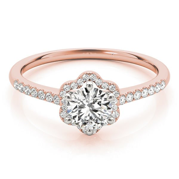 0.65 CtTwo Tone Petite Floral Halo Cathedral Engagement Ring In 10K Rose Gold