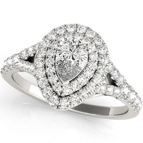 1.10 Ct Pear Shape Split Shank Double Halo Engagement Ring In 14k White Gold