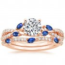 1.70 Ct Blue Sapphire Marquise Luxe Willow Wedding Ring Sets In 18K Rose gold