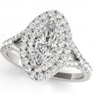 0.75 Ct Split Shank Marquise Shape Double Halo Engagement Ring In 10k White Gold