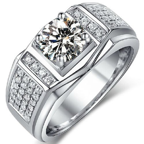 1.20 Tcw Round Cut Claw Set Solitaire Men's Engagement Ring 18K Solid White Gold