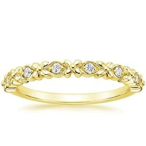 0.08 Ct Round Cut Gardenia Diamond Half Eternity Band In 10K Solid Yellow Gold