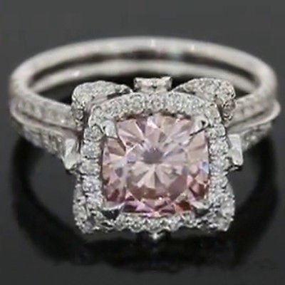 3.00 Ct Pretty Halo Floral Pink Cushion Cut Engagement Ring 14k Solid White Gold