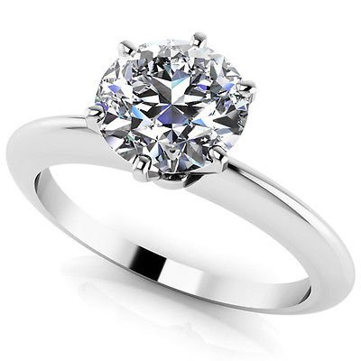 1.00 Tcw Knife Edge Round Cut Six Prong solitaire Engagement ring 18K White Gold