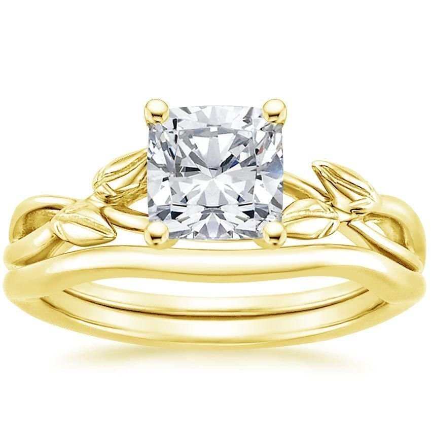 1.20 Tcw Cushion Cut CZ Budding Willow Bridal Wedding Ring Set 14k Yellow gold