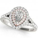 1.10 Ct Two Tone Pear Shaped Double Halo Engagement Ring In 18k White Rose gold