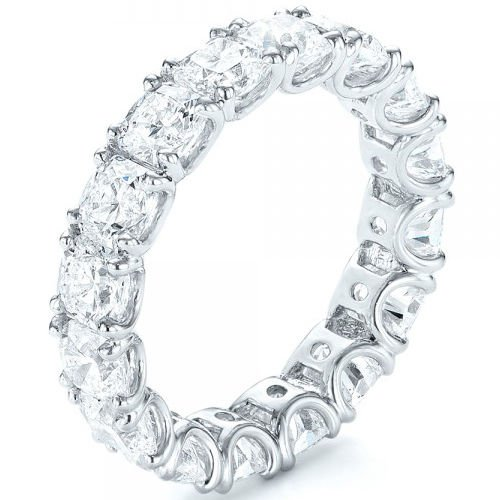 U Shape Prong Square Princess Cut Eternity Wedding Band In 14K Solid White Gold