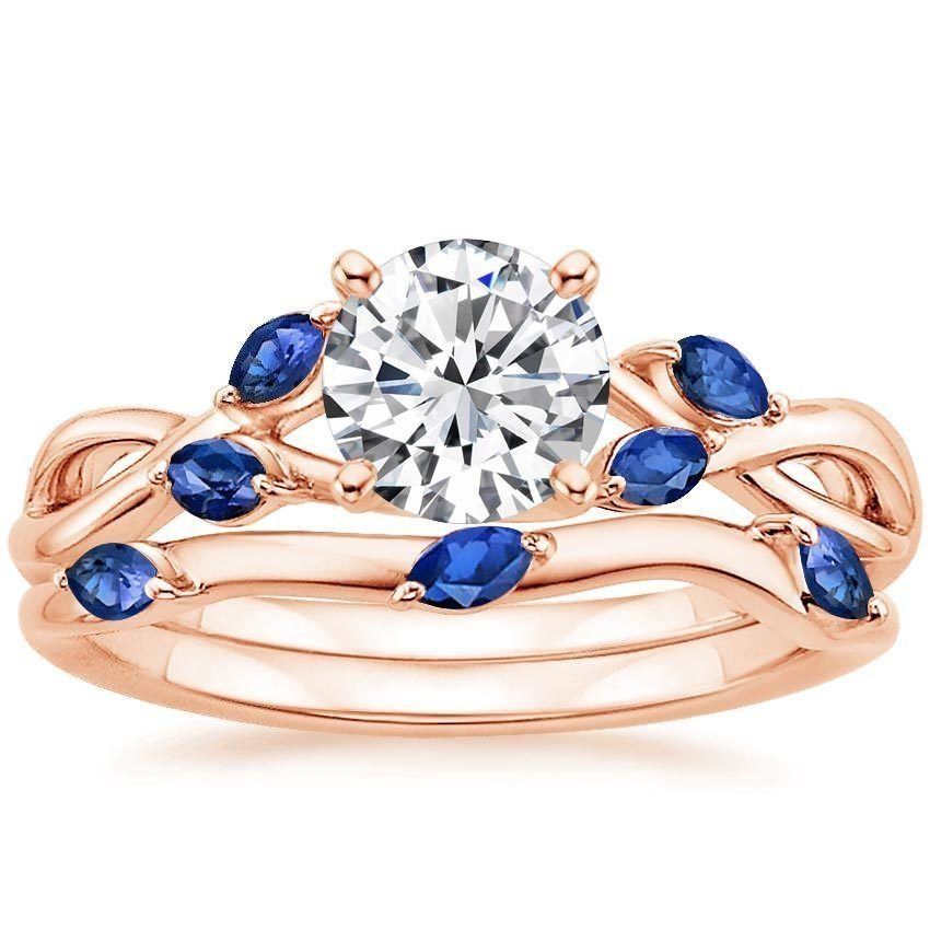 1.25 Tcw Nature Inspired CZ Solitaire Wedding Ring Sets In 14k Solid Rose Gold