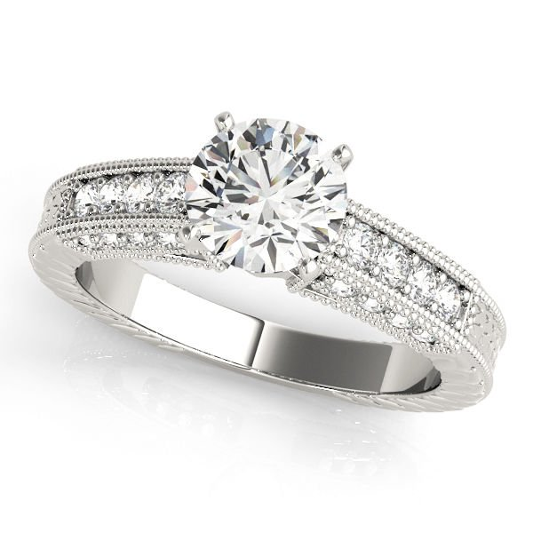 1.35 Tcw CZ Vintage style Milligrain Engraved Engagement Ring In 14K White Gold