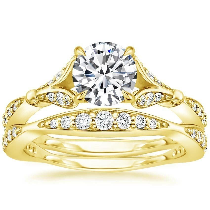 1.40 Tcw Nature Inspired CZ Round Solitaire Wedding Ring Sets In 18k Yellow Gold