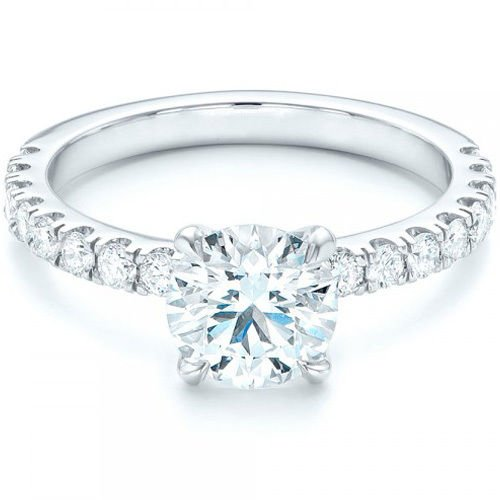 1.75 Tcw Split Prong CZ Solitaire With Accent Engagement Ring 14K White gold