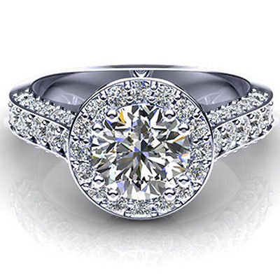 2.00 ct Round cut Solitaire CZ Vintage Halo Engagement Ring in 14K White gold