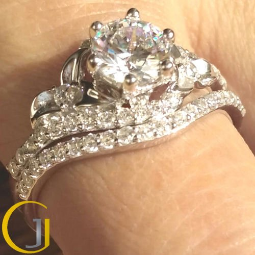 1.60 Tcw Unique Flower Nature Inspired Engagement Ring Set In 18k White Gold