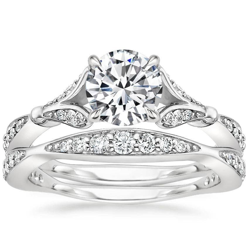 1.40 Tcw Nature Inspired CZ Round Solitaire Wedding Ring Sets In 18k White Gold