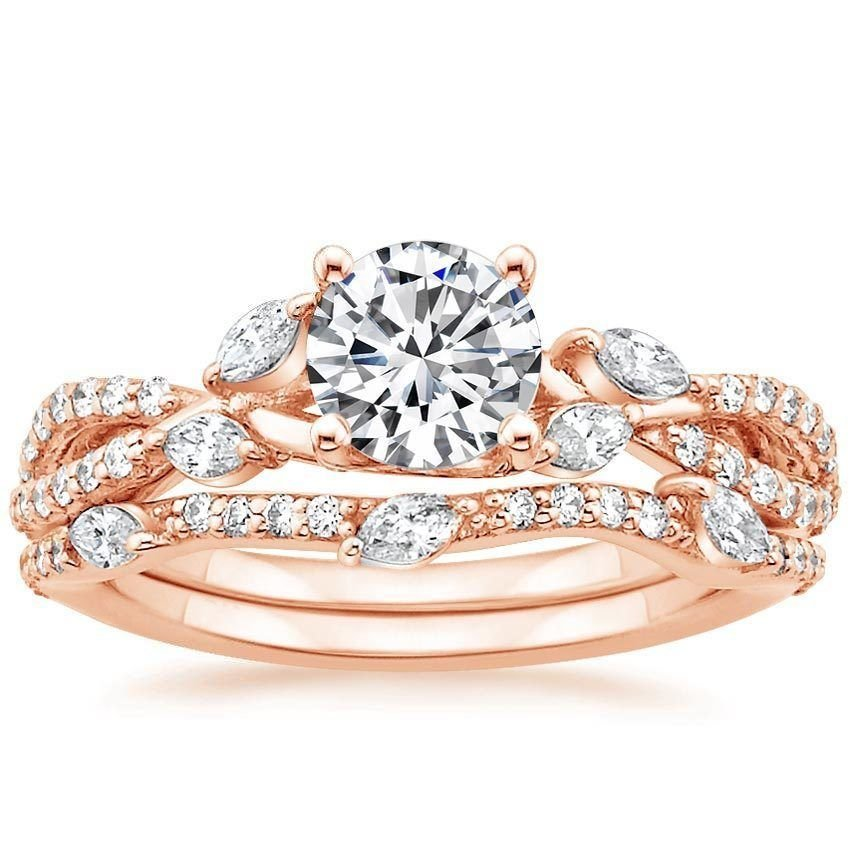1.70 Tcw Round Solitaire CZ Luxe Willow Wedding Ring Sets 18K solid Rose gold