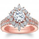 2.00 Tcw Round & Marquise Nature Inspired Bridal Wedding Ring Set 14K Rose Gold