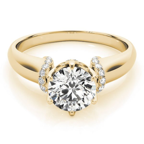 1.00 Tcw Contour Crown with CZ Shoulder Round Engagement Ring In 14k Yellow gold
