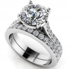 2.75 Ct Big Round Cut Bridal Engagement Wedding Jewelry Ring Sets 18k White Gold
