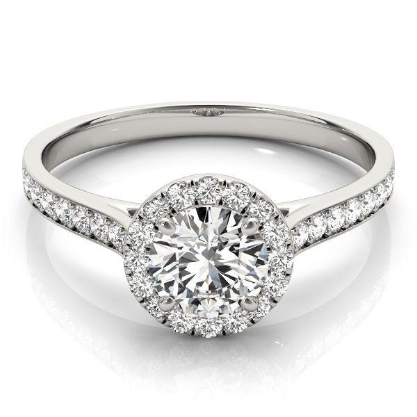 0.80 Tcw Classic Halo CZ Cathedral Solitaire Engagement Ring in 10k White Gold