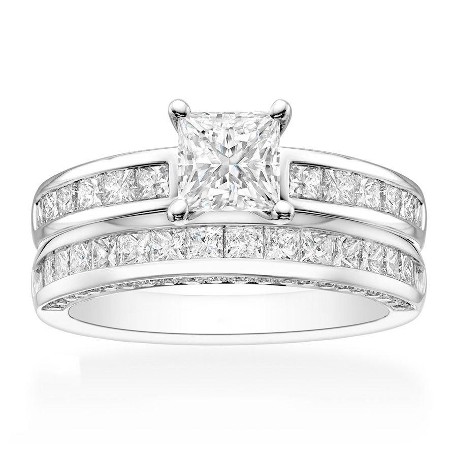 2.30 Tcw Princess Cut CZ Channel Set Engagement And Wedding Ring Set 18K W Gold