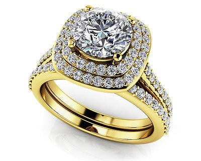 1.50 Tcw Round Solitaire CZ Double Halo Bridal Ring Sets 18K Solid Yellow gold