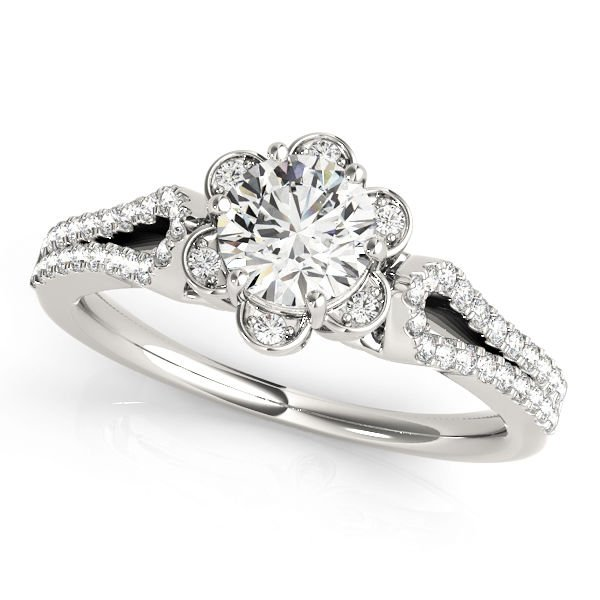 1.00 Tcw Petite Floral CZ Halo Engagement Ring with Split Band In 18K White Gold