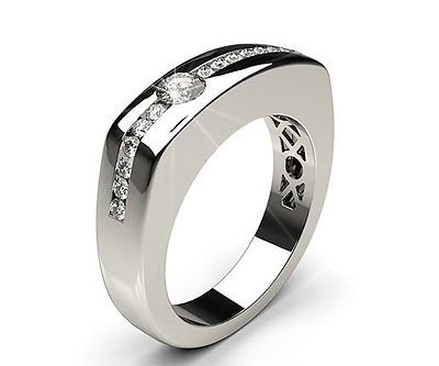 0.60 Ct Semi Bezel Channel Set Round Cut Gents Ring In 14k Solid White Gold