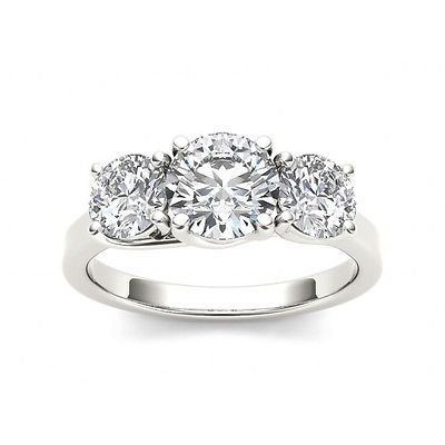 2.00 Tcw Round Cut CZ classic Three Stone Engagement Ring 18k Solid White Gold