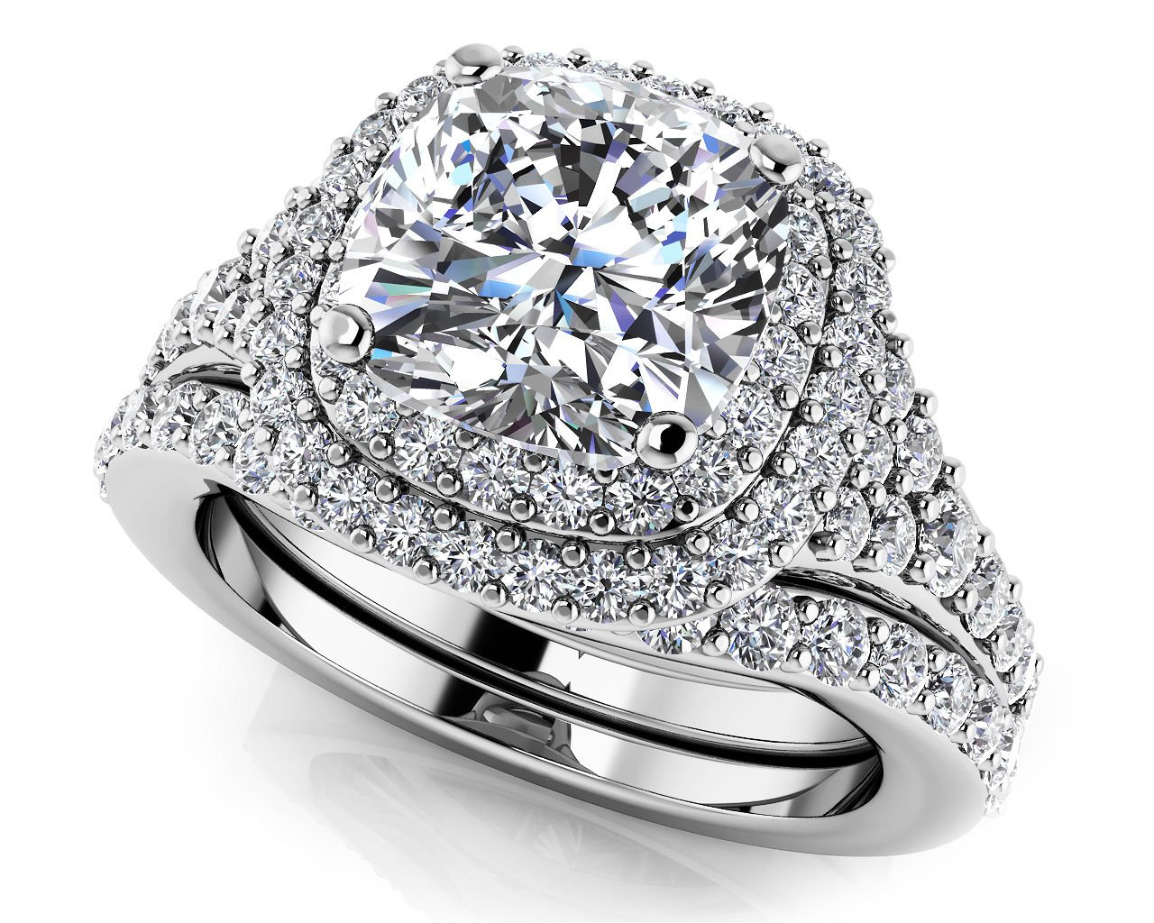 2.10 Tcw Cushion Cut CZ Solitaire Double Halo Bridal Ring Sets 14k White Gold