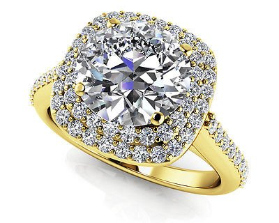 1.35 Tcw Round Solitaire CZ Double Halo Engagement Ring In 14K Solid Yellow gold