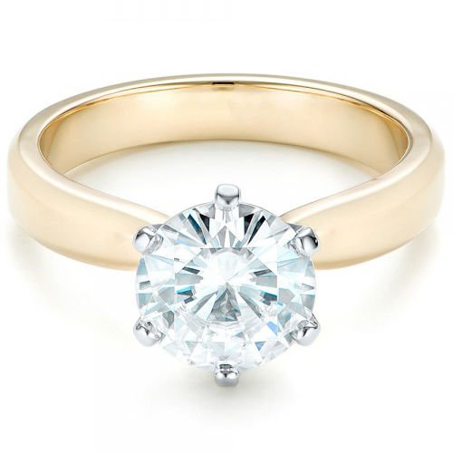 2.00 Tcw Six Prong Two-Tone Solitaire Engagement Ring 14K With And Yellow gold