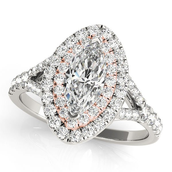 0.75 Tcw Two Tone Marquise Double Halo Cz Engagement Ring 18k White & Rose Gold