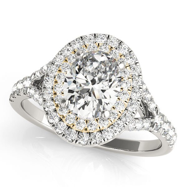 0.90 Tcw CZ Two Tone Oval Double Halo Engagement Ring 18 K White And YG