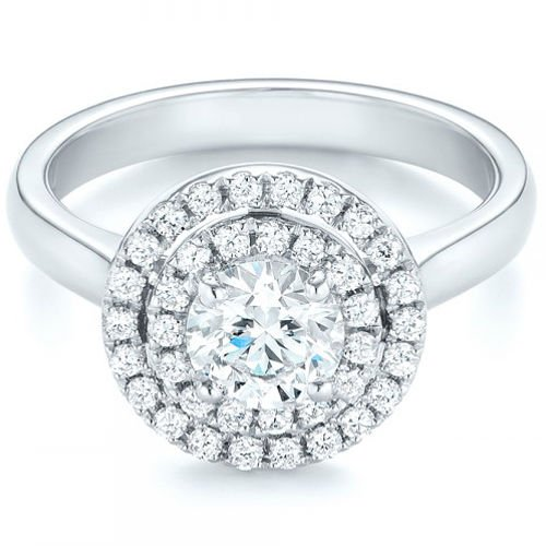 1.20 Tcw Plain Shank Split Prong Double Halo CZ Engagement Ring 14K White gold