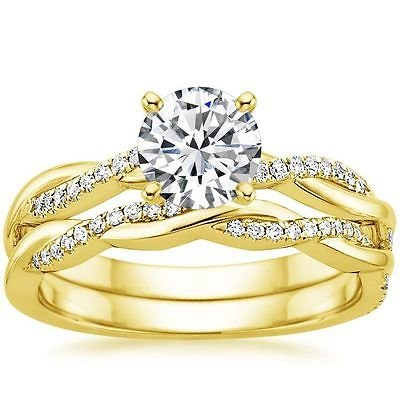 1.05 Ct Round Solitaire Petite Twisted Vine Wedding Ring Set In 14k Yellow Gold