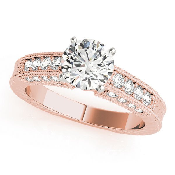 1.35 Tcw CZ Vintage style Milligrain Engraved Engagement Ring 18K Two Tone Gold