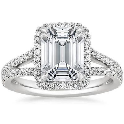 2.55 Tcw Solitaire Emerald Cut Split Shank Halo Engagement Ring 14k White Gold
