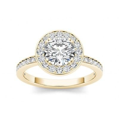 1.40 Tcw Round Solitaire CZ Classic Halo Engagement Ring 14k Solid Yellow Gold