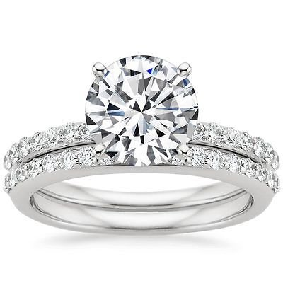 2.50 Tcw Round Solitaire Petite Shared Prong wedding ring Sets 14k white gold
