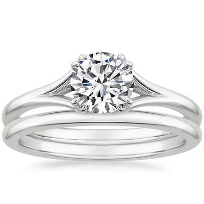 0.80 ct Round Cut Solitaire Reverie Bridal Ring Sets In 14k solid white gold