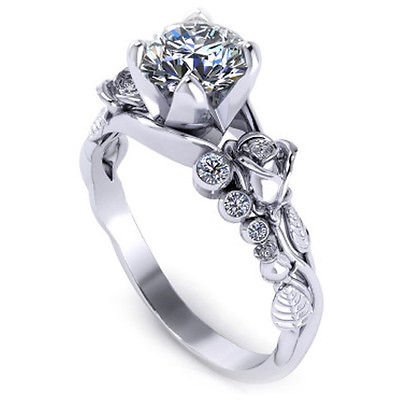 1.15 ct Round Cut Solitaire Rose Floral Design Nature Inspired 14K White Gold