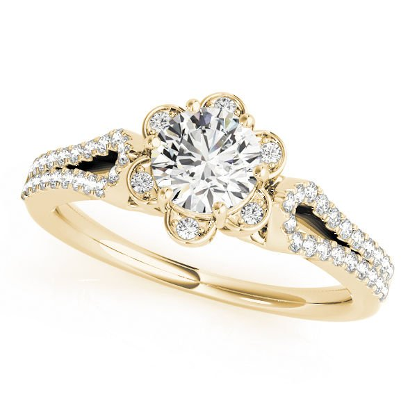 1.00 Tcw Petite Floral CZ Halo Engagement Ring with Split Band 18K Yellow Gold